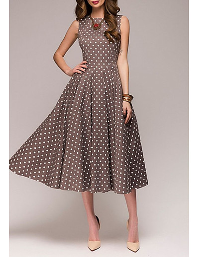 cheap Elegant Dresses-Women's Plus Size A Line Dress - Sleeveless Polka Dot Summer 1950s Elegant Party / Cocktail 2020 Red Green Brown S M L XL XXL XXXL XXXXL