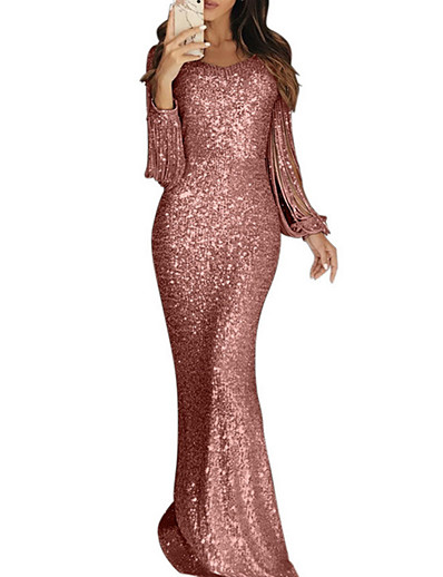 cheap Bodycon Dresses-Women's Sheath Dress - Long Sleeve Solid Colored Party Prom Blushing Pink S M L XL XXL / Maxi