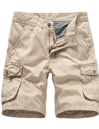 cheap Men's Bottoms-cargo shorts for men,cargo shorts for men,long cargo shorts below knee relaxed fit multi-pocket  messenger shorts khaki