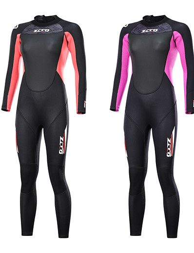 cheap SWIMWEAR-ZCCO Women's Full Wetsuit 3mm SCR Neoprene Diving Suit Long Sleeve Back Zip Knee Pads Solid Colored Autumn / Fall Spring Summer / Winter / Stretchy