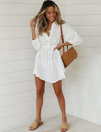 cheap Casual Dresses-Women's A Line Dress - 3/4 Length Sleeve Solid Color Summer V Neck Street chic 2020 White S M