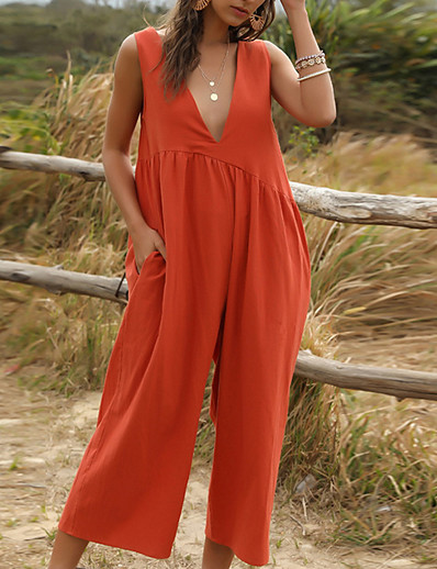 cheap Jumpsuits & Rompers-Women's V Neck Blue Red Beige Jumpsuit Solid Colored