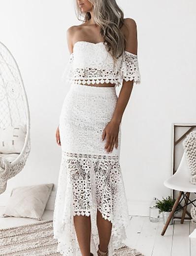 cheap Dresses-Women's Set Slim Solid Colored Skirt