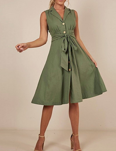cheap Elegant Dresses-Linen sleeveless midi shirt dress