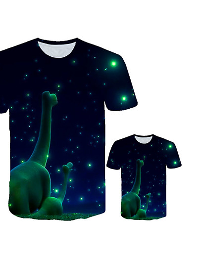 cheap Family Matching Outfits-Family Look Active Punk & Gothic Fantastic Beasts Dinosaur Galaxy Color Block Animal Print Short Sleeve Regular Tee Navy Blue