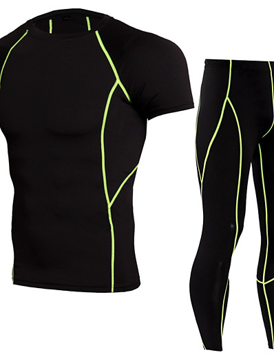 cheap Running, Jogging & Walking-JACK CORDEE Men's 2 Piece Activewear Set Workout Outfits Compression Suit Athletic Athleisure Short Sleeve Thermal Warm Moisture Wicking Breathable Gym Workout Running Active Training Jogging