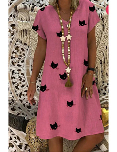 cheap DRESSES-Women's Shift Dress Knee Length Dress - Short Sleeves Print V Neck Blushing Pink Orange Khaki Gold Green Light Blue S M L XL XXL XXXL XXXXL XXXXXL