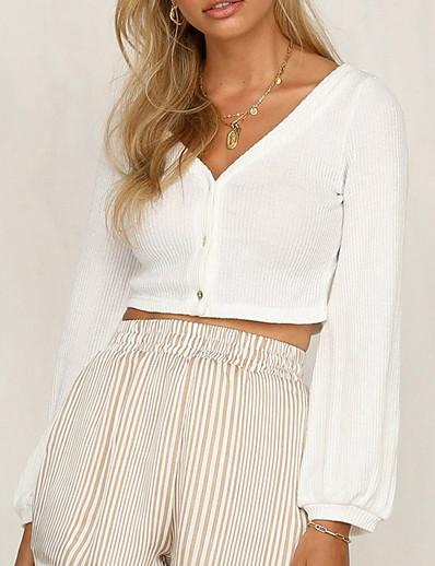 cheap 05/25/2020-2020 SUMMER Long Sleeve Open Front Cardigan Button Down Knitting Jumper Crop Tops