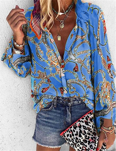 cheap Blouses & Shirts-Women's Tribal Loose Shirt Daily Shirt Collar Blue / Purple / Red / Yellow / Orange / Beige