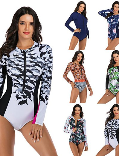 cheap Rash Guards-Women's One Piece Swimsuit Floral / Botanical Padded Swimwear Swimwear Black Red Green Thermal Warm Breathable Quick Dry Long Sleeve - Swimming Surfing Water Sports Autumn / Fall Spring / Stretchy