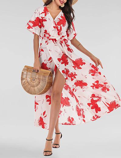 cheap Summer Dresses & Boho-Women's Basic Street chic Swing Dress - Geometric Lace up Print White S M L XL