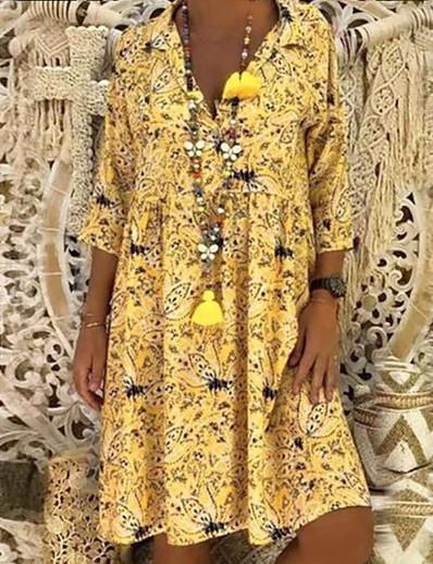cheap Casual Dresses-Women's A Line Dress - 3/4 Length Sleeve Floral Print Spring & Summer Shirt Collar Holiday Beach Loose Oversized 2020 Red Yellow Green S M L XL XXL XXXL XXXXL XXXXXL