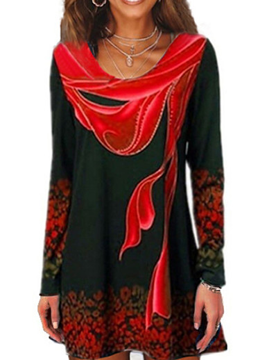 cheap TOPS-Women's Daily T-shirt Geometric Long Sleeve Tops Blue Red Green