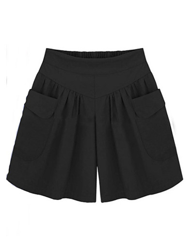 abordables Pantalons et Jupes Femme-Femme basique Coton Ample Short Pantalon Couleur Pleine Taille haute Noir Vert Véronèse Kaki