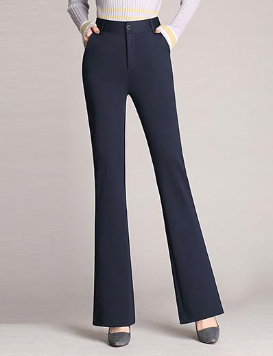 abordables Pantalons et Jupes Femme-Femme basique Chic de Rue Grandes Tailles énorme Pour Bottes (Bootcut) Chino Pantalon Couleur Pleine Noir Vin Bleu Marine