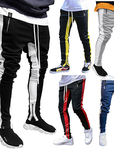 cheap SPORTSWEAR-JACK CORDEE Men's Sweatpants Joggers Jogger Pants Street Trousers Bottoms Stripe Zipper Pocket Drawstring Winter Fitness Gym Workout Running Active Training Jogging Breathable Soft Sport Black / Red