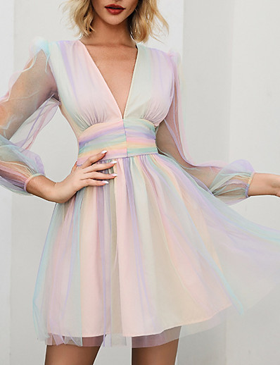 cheap Elegant Dresses-DOUBLE CRAZY Women's Prom Dress Chiffon Dress Short Mini Dress - Long Sleeve Rainbow plunging v neck S M L