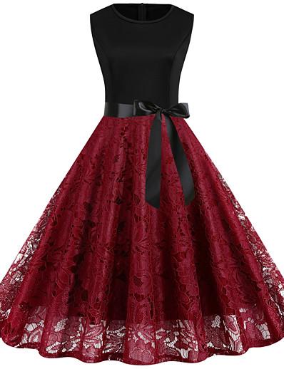preiswerte Weihnachtskleider-Damen Etuikleid Knielanges Kleid - Ärmellos Volltonfarbe Spitze heiß Street Schick Ausgehen Schwarz Blau Rote Wein Grün S M L XL XXL