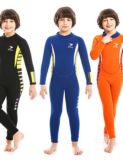 cheap Surfing, Diving & Snorkeling-ZCCO Boys' Full Wetsuit 2.5mm SCR Neoprene Diving Suit Long Sleeve Back Zip Solid Colored Autumn / Fall Spring Summer / Winter / High Elasticity / Kids