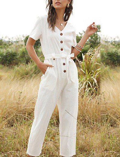 cheap SALE-Women's Yellow Blushing Pink White Jumpsuit Onesie, Solid Colored S M L
