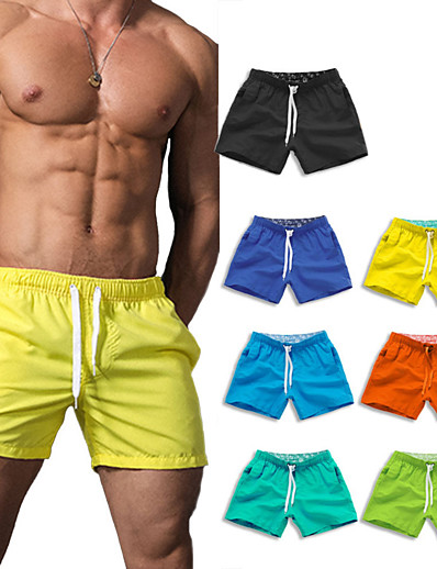 cheap Surfing, Diving & Snorkeling-Men's Swim Shorts Swim Trunks Bottoms Breathable Quick Dry Drawstring - Swimming Water Sports Solid Colored Summer / Micro-elastic