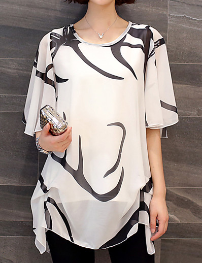 cheap TOPS-Women's Daily Weekend Basic Plus Size Batwing Sleeve Loose Blouse - Graphic Black & White, Pleated / Print White / Summer / Flare Sleeve