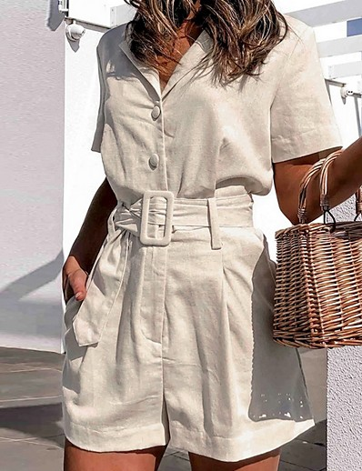 cheap Jumpsuits & Rompers-Women's White Romper Color Block Solid Colored
