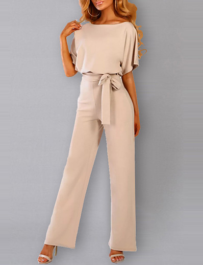 cheap Jumpsuits & Rompers-Women's Elegant Daily Going out Black Blue Red Jumpsuit Solid Colored Drawstring