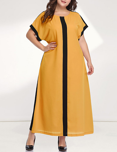 cheap Plus Size Dresses-Women's Loose Maxi long Dress - Long Sleeve Color Block Solid Color Patchwork Plus Size Casual Sophisticated Daily Going out Batwing Sleeve Loose Yellow Blushing Pink XL XXL XXXL XXXXL XXXXXL