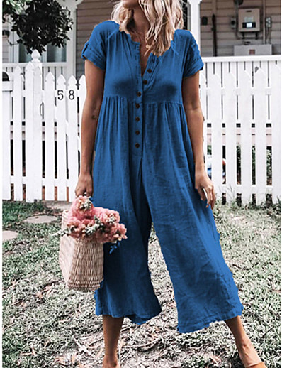 cheap Jumpsuits & Rompers-Women's Gray Purple Royal Blue Jumpsuit Solid Colored / Wide Leg