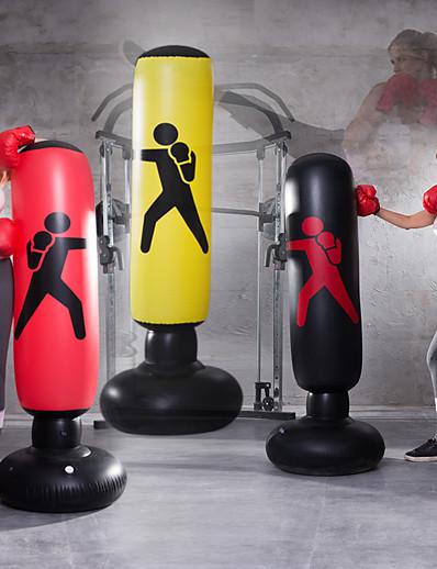 abordables Exercice, Fitness & Yoga-Sac de boxe gonflable pour Taekwondo Arts martiaux Kick Boxing Muay Thai Bouteille Etanche Explosion-Proof Sur pied Flexible Entraînement de Force Soulagement du Stress Crossfit Noir Rouge Jaune