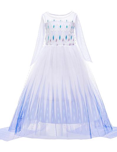 cheap Movie & TV Theme Costumes-Frozen Princess Dress Girls' Movie Cosplay Vacation Dress Halloween Christmas White Dress Christmas Halloween