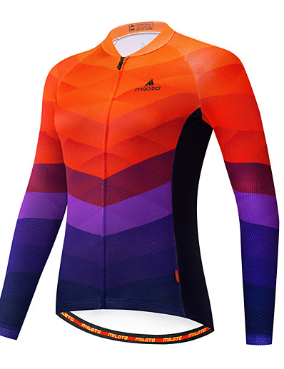 cheap SPORTSWEAR-21Grams Women's Long Sleeve Cycling Jersey Blue+Orange Stripes Patchwork Gradient Bike Jersey Top Mountain Bike MTB Road Bike Cycling Breathable Quick Dry Ultraviolet Resistant Sports Clothing Apparel