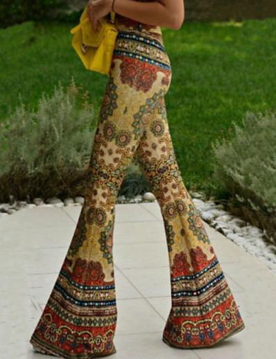 cheap Women's Bottoms-Women's Basic Chinos Pants Print Yellow Orange Brown Navy Blue