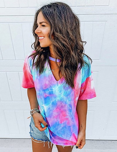 cheap TOPS-Summer Tie Dye Rainbow T-Shirt