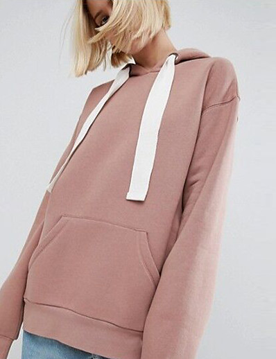 cheap Hoodies & Sweatshirts-Women's Hoodie Solid Colored Casual Blushing Pink Brown S M L XL