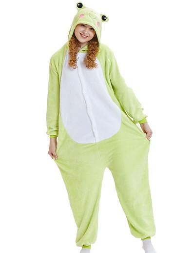 cheap Kigurumi Pajamas-Adults' Kigurumi Pajamas Animal Frog Onesie Pajamas Coral fleece Green Cosplay For Men's Women's Boys' Animal Sleepwear Cartoon Festival / Holiday Costumes / Couple's / Family Look / Men and Women