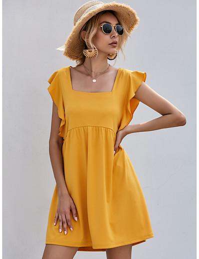 cheap Boho Dresses-Women's Shift Dress Short Mini Dress - Short Sleeve Summer Square Neck Streetwear Holiday 2020 Yellow S M L XL