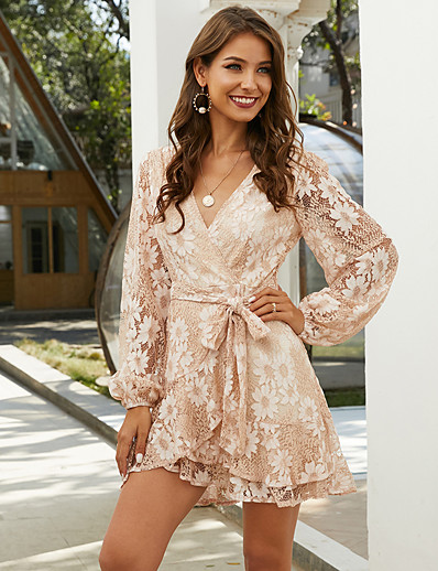 cheap 06/22/2020-Women's A-Line Dress Short Mini Dress - Long Sleeve Floral Mesh Print Summer Work Elegant Vacation Going out 2020 Blushing Pink XS S M L