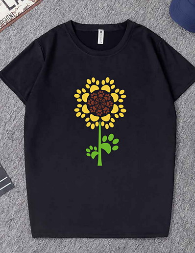 cheap TOPS-Women's Geometric T-shirt Daily Going out White / Black
