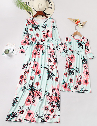 cheap Family Matching Outfits-Mommy and Me Sweet Boho Blue & White Floral Print 3/4 Length Sleeve Maxi Dress White