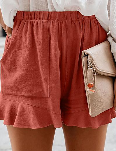 abordables Bas pour femmes-Femme basique Flexible Quotidien Casual Travail Short Pantalon Couleur Pleine Noir Rouge Vert Véronèse Orange Bleu Poudré