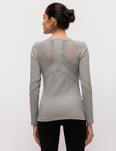 cheap Tops-Women's Yoga Top Patchwork Solid Color Gray+Green Black Purple Blue Nylon Mesh Yoga Running Fitness Top Long Sleeve Sport Activewear Breathable Quick Dry Comfortable Stretchy