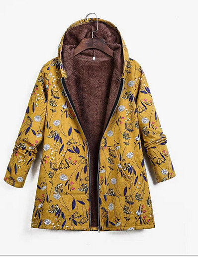 cheap Outerwear-Women's Parka Parka Ethnic Style Floral Polyester Blue / Yellow / Green S / M / L