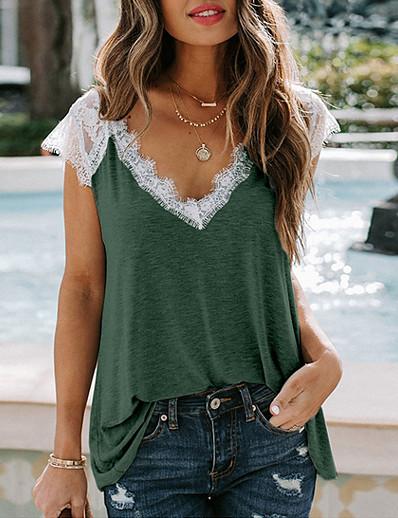 abordables Tee-shirts pour Femme-t-shirt en dentelle pour femmes