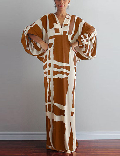 cheap Elegant Dresses-Women's Shift Dress Dress - Half Sleeve Print Summer Fall Elegant Street chic 2020 Light Brown White Black Gray S M L XL XXL XXXL