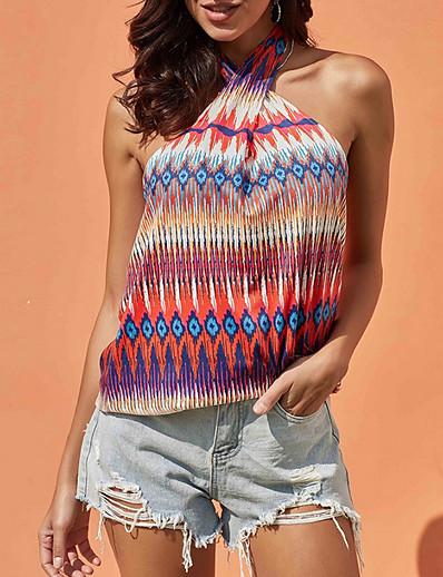 cheap Print T-Shirts-Women's Daily Tank Top Geometric Criss Cross Print Sleeveless Tops Halter Neck White Blue Red