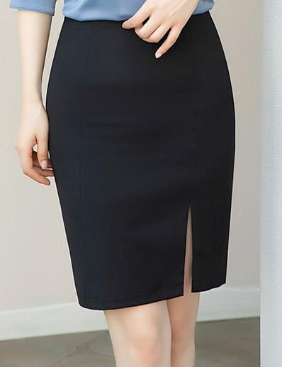 abordables Pantalons et Jupes Femme-Femme Moulante Jupes Couleur Pleine Noir Bleu Marine