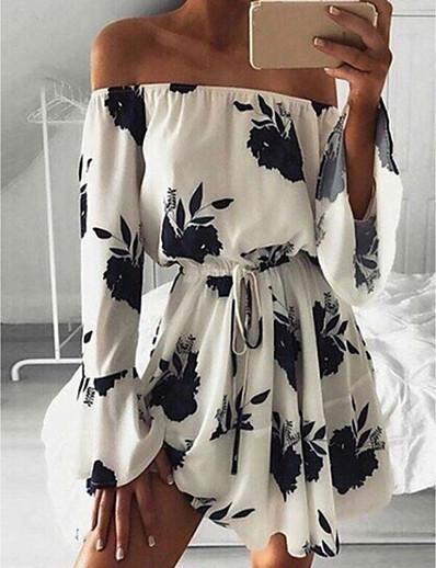 cheap Casual Dresses-Women's A Line Dress - 3/4 Length Sleeve Print Summer Sexy Chinoiserie 2020 White Black Blue S M L XL