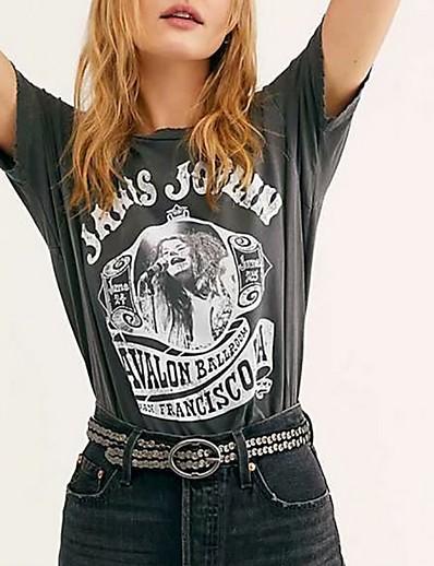 cheap TOPS-Women's Letter T-shirt Daily Black